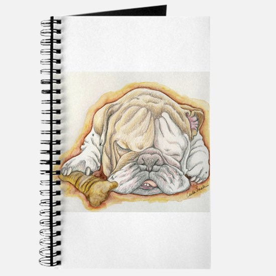 Sleepy English Bulldog with Bone Journal