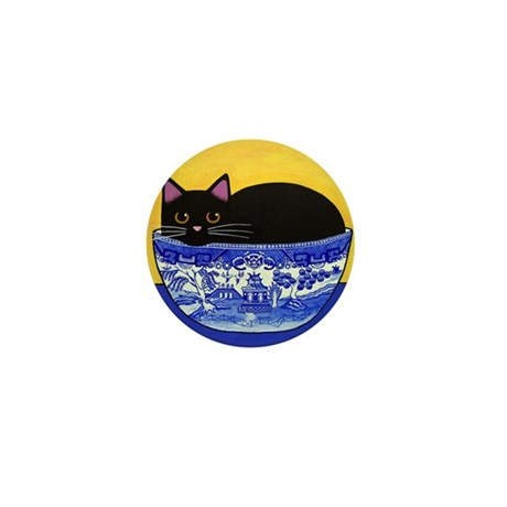 Black CAT Blue Willow Bowl Mini Button (10 pack)