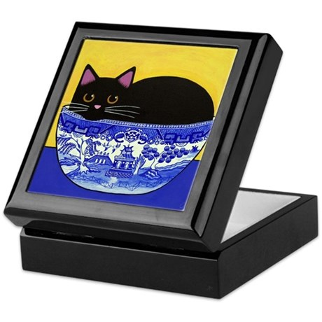 Black CAT In Blue Willow Bowl Keepsake Box