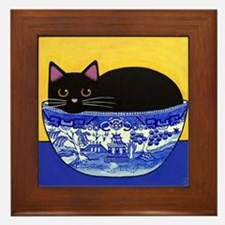 Black CAT In Blue Willow Bowl Framed Tile