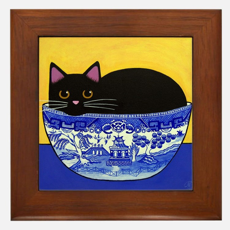 Black CAT In Blue Willow Bowl Framed Tile