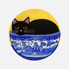 """Black CAT In Blue Willow Bowl BIG 3.5"""" Button"""