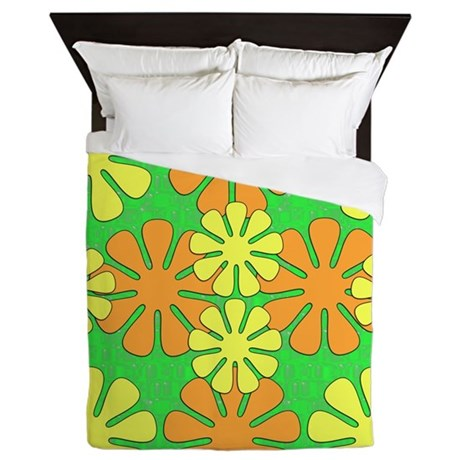 Cool Mod Flowers Queen Duvet