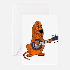 Bloodhound Playing Banjo Greeting Cards