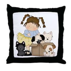 Puppy Dog Friends Throw Pillow