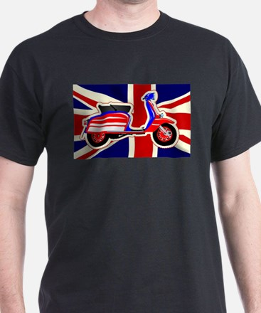 60s Motor Scooter Over Union Jack T-Shirt
