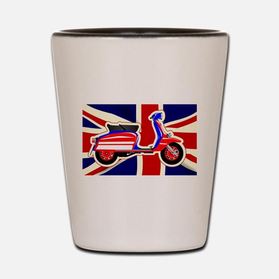 60s Motor Scooter Over Union Jack Shot Glass