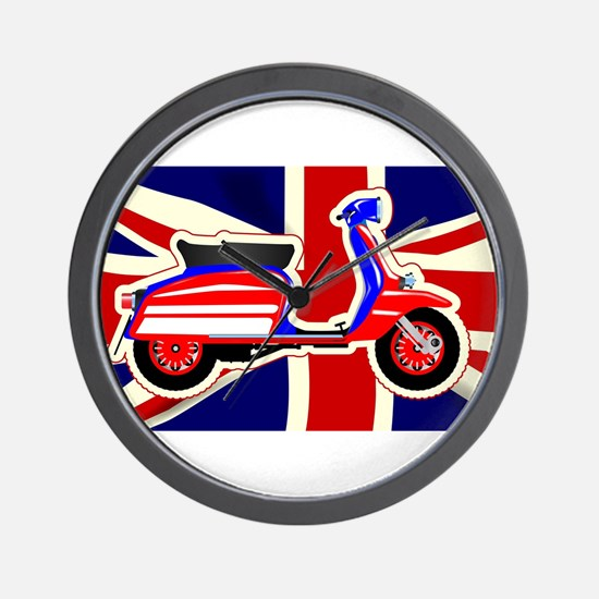 60s Motor Scooter Over Union Jack Wall Clock