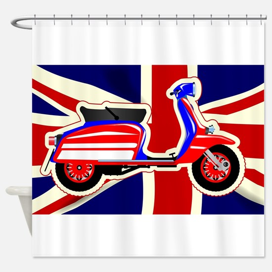 60s Motor Scooter Over Union Jack Shower Curtain