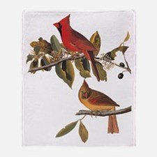 Cardinal Grosbeak Vintage Audubon Birds Throw Blan