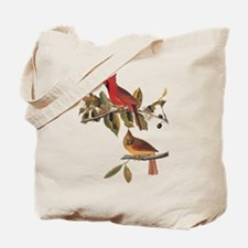 Cardinal Grosbeak Vintage Audubon Birds Tote Bag
