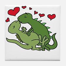 Cute Kissing couple Tile Coaster