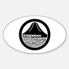 Mt.Fuji and sailing ships in circle Decal