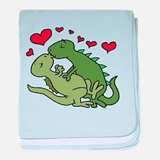 Kissing Dinosaurs baby blanket