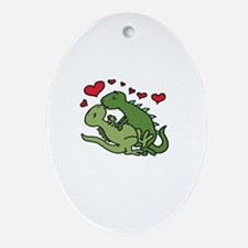 Kissing Dinosaurs Oval Ornament