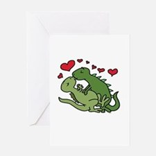 Kissing Dinosaurs Greeting Cards