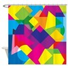 Colorful Abstract Geometric Shapes Shower Curtain