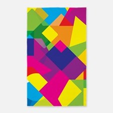 Colorful Abstract Geometric Shapes Area Rug