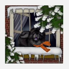 BLACK CHOW CHOW DOG WINTER WINDOW Tile Coaster