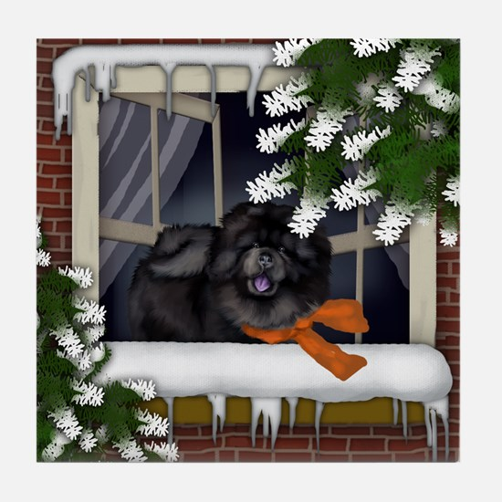 BLACK CHOW CHOW DOG WINTER WINDOW Tile Coaster
