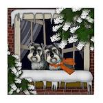 STANDARD SCHNAUZER DOGS WINTER WINDOW Tile Coaster
