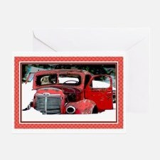 Keeshond Christmas Old Truck Card Greeting Cards