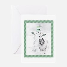 Keeshond Snowman Christmas Greeting Card