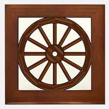 Covered Wagon Wheel Framed Tile