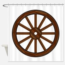 Covered Wagon Wheel Shower Curtain