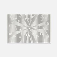 Silver Musical Notes Background Magnets