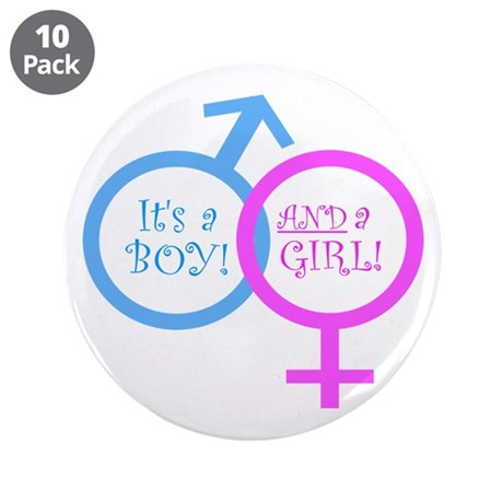 "It's a boy AND a girl 3.5"" Button (10 pack)"