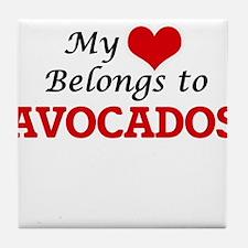 My Heart Belongs to Avocados Tile Coaster