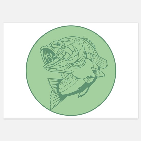 I Love Fishing Green Design Invitations