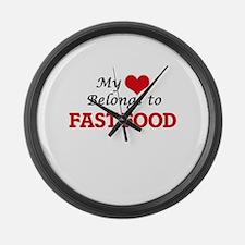 My Heart Belongs to Fast Food Large Wall Clock