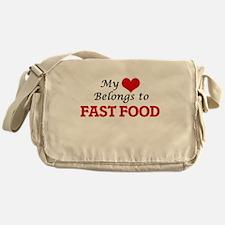 My Heart Belongs to Fast Food Messenger Bag