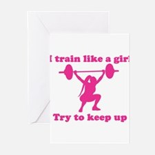 Train Like a Girl Greeting Cards