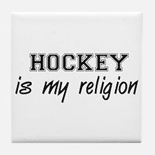 Hockey Is My Religion Tile Coaster