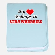 My Heart Belongs to Strawberries baby blanket