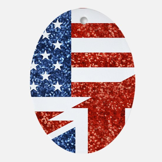 glitter usa uk Oval Ornament