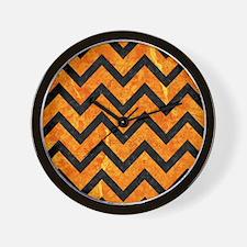 CHEVRON9 BLACK MARBLE & ORANGE MARBLE ( Wall Clock