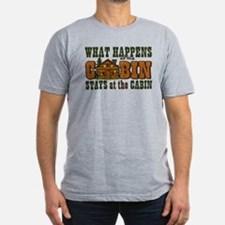 Happens At The Cabin Men's Fitted T-Shirt (dar