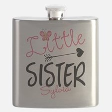 Little Sister Butterfly Personalized Flask