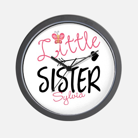Little Sister Butterfly Personalized Wall Clock