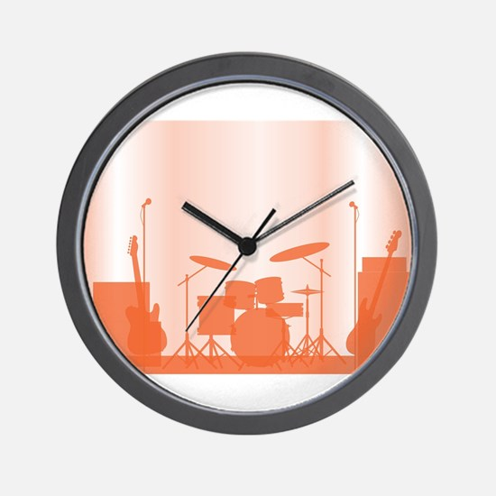Rock Band Equipment On Stage Wall Clock