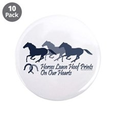 """Hoof Prints On Our Hearts 3.5"""" Button (10 pack)"""