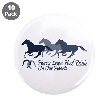 "Hoof Prints On Our Hearts 3.5"" Button (10 pack)"
