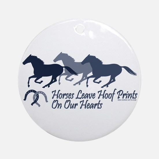Hoof Prints On Our Hearts Ornament (Round)