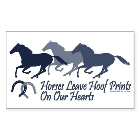 Hoof Prints On Our Hearts Rectangle Sticker