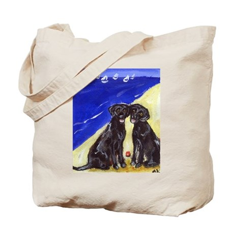 BLACK LABS at the Beach Desig Tote Bag