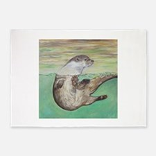 Playful River Otter 5'x7'Area Rug